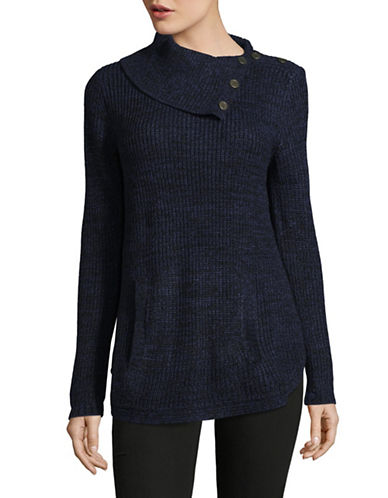 Style And Co. Asymmetrical Cowl Neck Sweater-BLUE-Small
