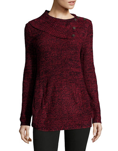 Style And Co. Asymmetrical Cowl Neck Sweater-RED-Medium
