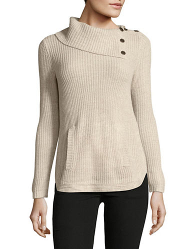 Style And Co. Petite Asymmetrical Cowl Neck Sweater-BEIGE-Petite Medium