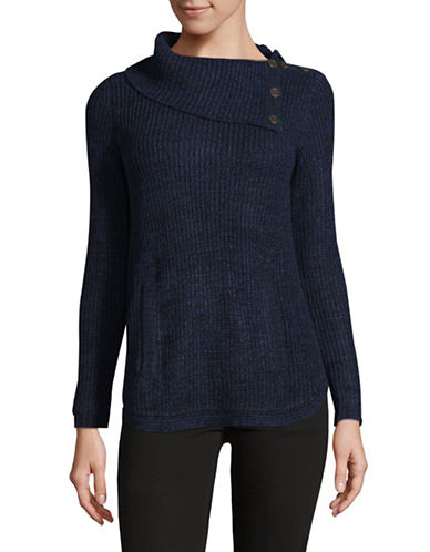 Style And Co. Petite Asymmetrical Cowl Neck Sweater-BLUE-Petite X-Small