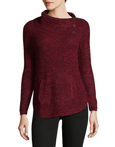 Style And Co. Petite Asymmetrical Cowl Neck Sweater-RED-Petite Small