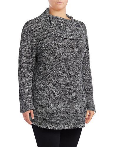 Style And Co. Plus Envelope Neck Sweater-BLACK/IVORY-2X