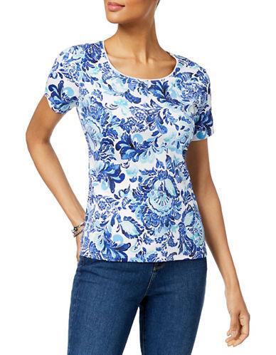 Karen Scott Printed Short Sleeve Tee-BLUE-Large 89788957_BLUE_Large