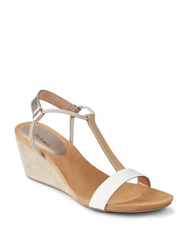Style And Co. Mulan T-Strap Wedge Sandals-BEIGE-9.5