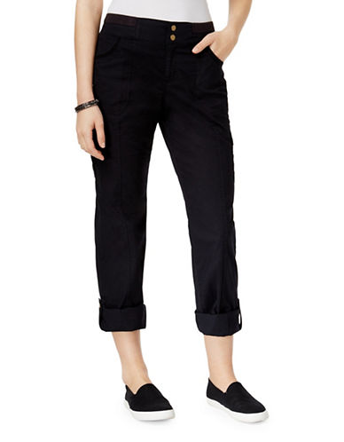 Style And Co. Petite Convertible Cargo Pants-BLACK-Petite 8