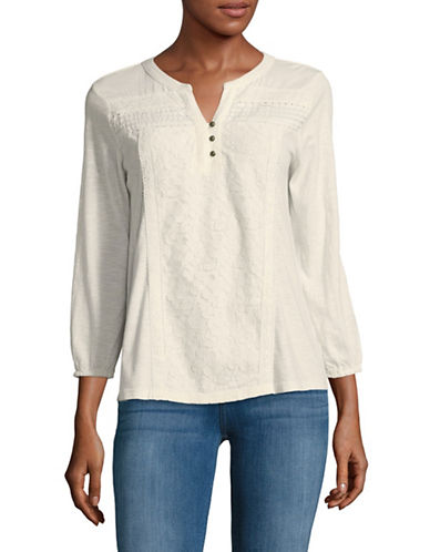 Style And Co. Petite Lace Panel Blouse-NATURAL-Petite X-Large