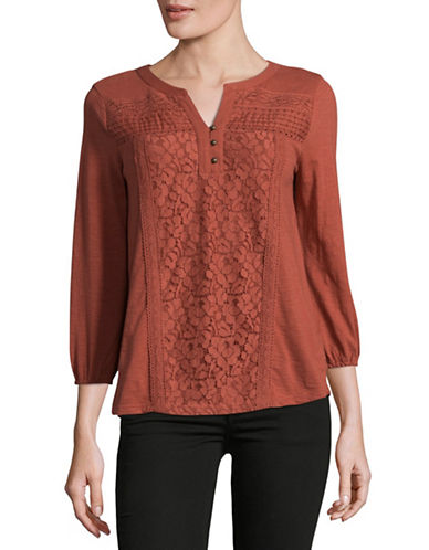 Style And Co. Petite Lace Panel Blouse-RED-Petite Medium
