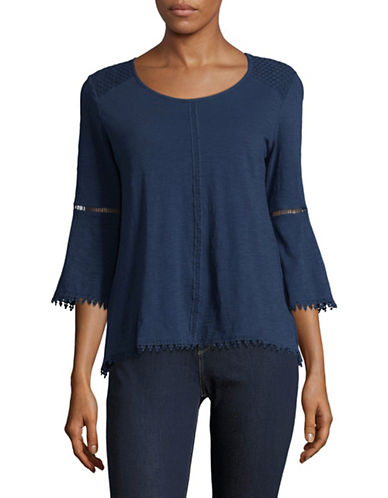 Style And Co. Crochet-Trim Bell Sleeve Top-BLUE-Large