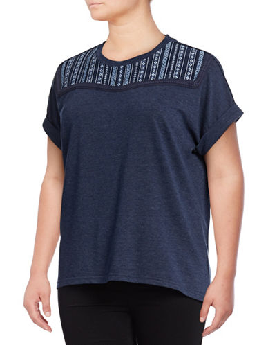 Style And Co. Plus Embroidered Boxy Tee-BLUE-1X