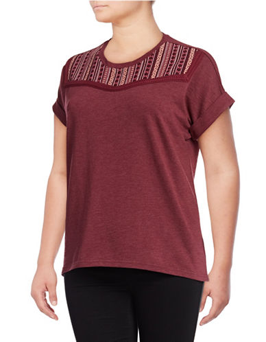 Style And Co. Plus Embroidered Boxy Tee-PURPLE-2X