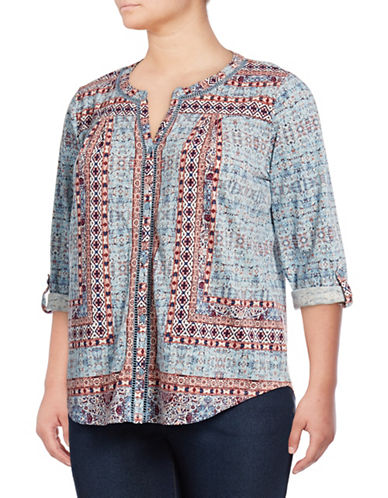 Style And Co. Plus Printed Split Neck Blouse with Ladder Trim-BLUE MULTI-2X