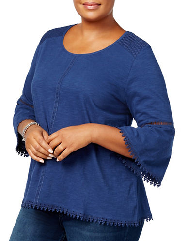 Style And Co. Plus Lantern-Sleeve Crochet-Trim Top-BLUE-2X