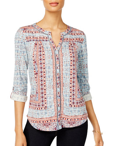 Style And Co. Ladder-Trim Blouse-NOMADIC-Medium