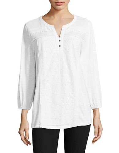 Style And Co. Lace Panel Blouse-WHITE-Small