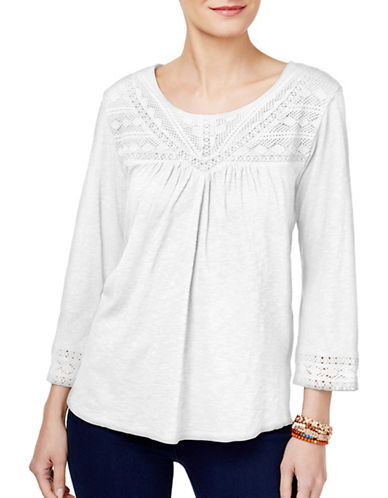 Style And Co. Crochet-Trim Top-WHITE-Large