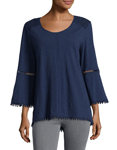 Style And Co. Petite Crochet-Trim Bell Sleeve Top-BLUE-Petite Small