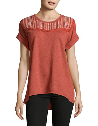 Style And Co. Embroidered Terry-Knit Top-RED-Small