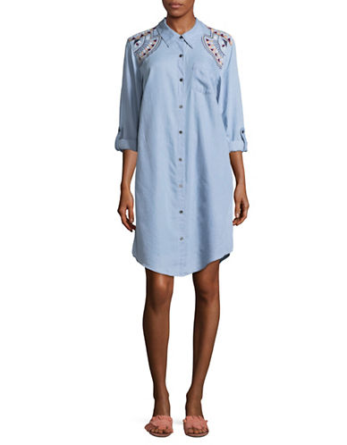Style And Co. Embroidered Shoulder Shirt Dress-BLUE-Large