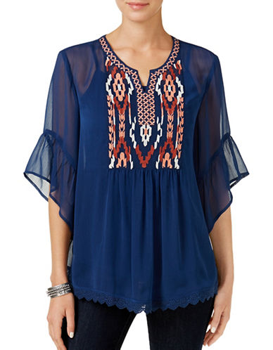 Style And Co. Embroidered Sheer Top-BLUE-Medium