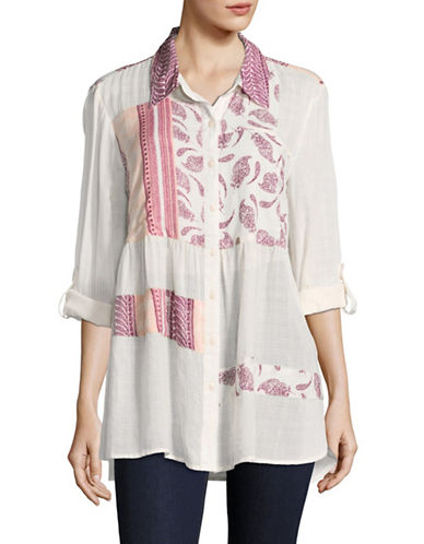 Style And Co. Patchwork Craze Gauze Shirt-PATCHWORK-Large