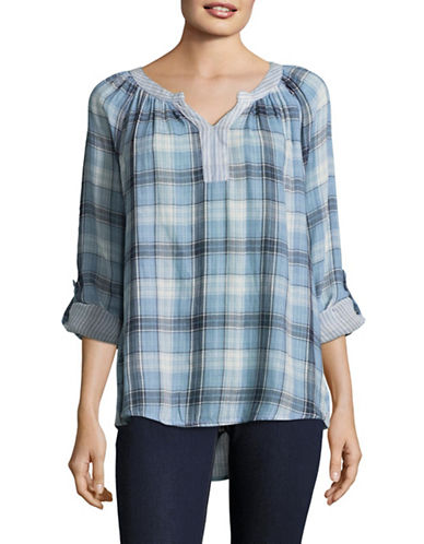 Style And Co. Boulder Plaid Roll-Sleeve Top-BLUE-XX-Large