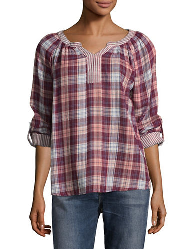 Style And Co. Petite Boulder Plaid Roll-Sleeve Top-PURPLE MULTI-Petite X-Small
