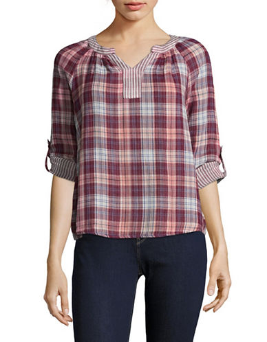 Style And Co. Petite Boulder Plaid Roll-Sleeve Top-PURPLE MULTI-Petite Small