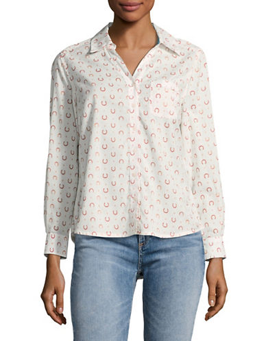 Style And Co. Petite Horseshoe Print Shirt-RINGER-Petite Medium