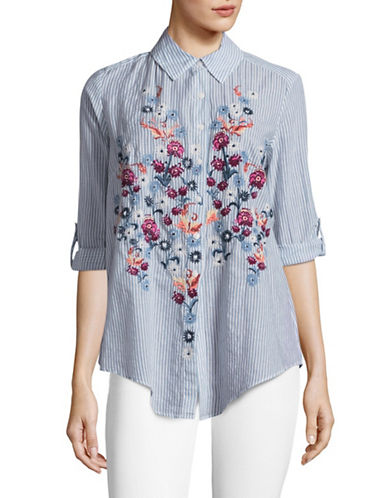 Style And Co. Petite Stripe Floral Embellished Shirt-BLUE MULTI-Petite X-Large