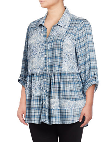 Style And Co. Plus Plaid Patchwork Shirt-BLUE-3X