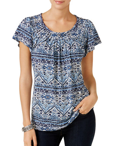 Style And Co. Mixed-Print Pleated Neck Top-BLUE MULTI-Medium