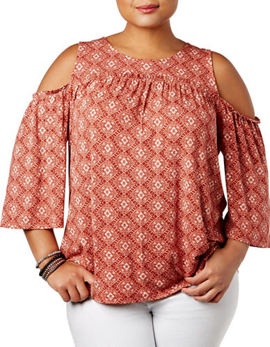 Style And Co. Plus Geometric Cold Shoulder Top-RED-3X
