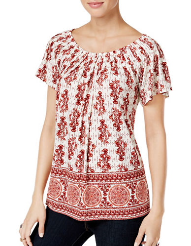 Style And Co. Petite Floral-Print Pleated Top-BOUQUET-Petite Medium