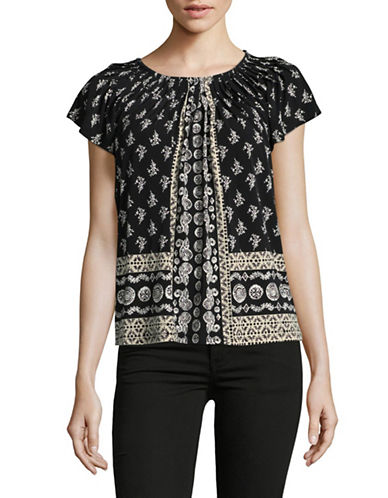 Style And Co. Petite Printed Pleat Neck Blouse-BLACK MULTI-Petite X-Small