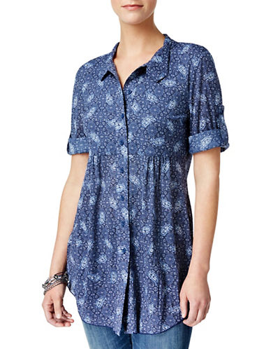 Style And Co. Printed Empire Tunic-BLUE-X-Large