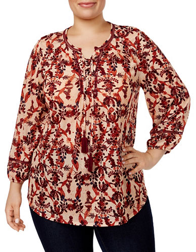 Style And Co. Printed Lace-Up Peasant Top-MULTI-Large