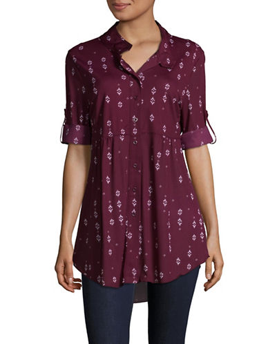 Style And Co. Petite Geo-Print Tunic-PURPLE-Petite Large