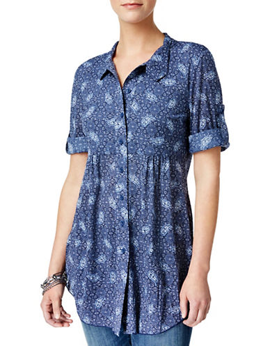 Style And Co. Petite Petite Printed Empire Tunic-BLUE-Petite X-Large
