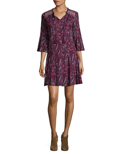 Style And Co. Petite Paisley Peasant Dress-PURPLE-Petite Large