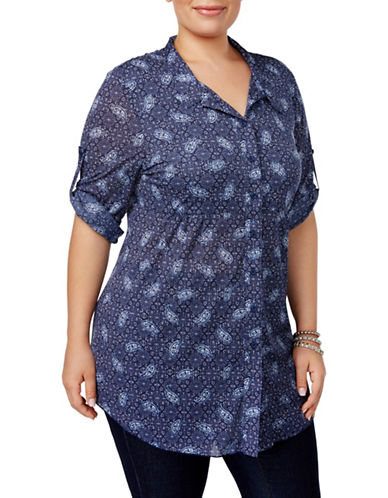 Style And Co. Plus Printed Tunic Shirt-BLUE-3X