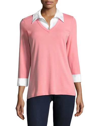 Karen Scott Contrast Collar Twofer-PINK-Large