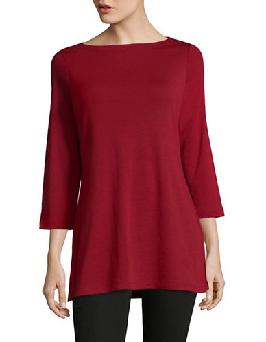 Karen Scott Boat-Neck Tunic Top-RED-X-Large