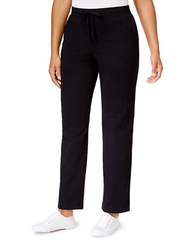 Karen Scott Petite Stretch Knit Pants-BLACK-Petite Small