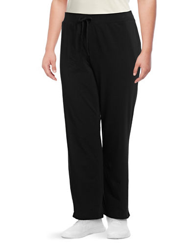 Karen Scott Plus Drawstring Jersey Sweatpants-BLACK-3X