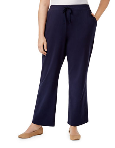 Karen Scott Plus Drawstring Jersey Sweatpants-BLUE-3X
