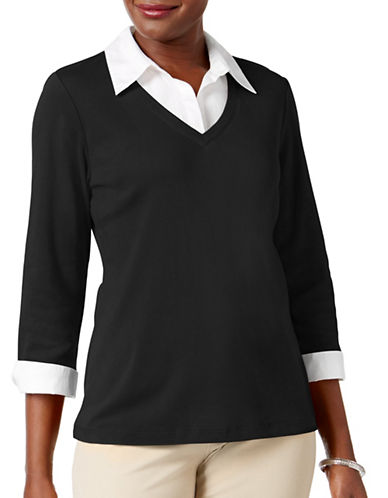 Karen Scott Petite Cotton Layered-Look Top-BLACK-Petite X-Small
