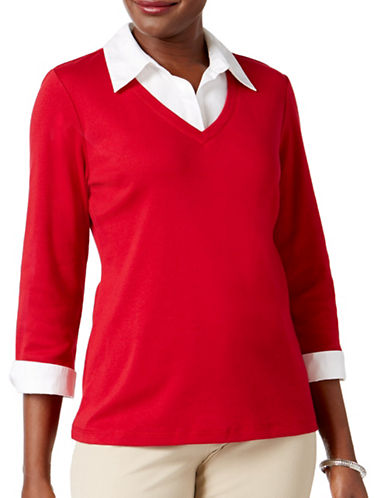 Karen Scott Petite Cotton Layered-Look Top-RED-Petite Medium