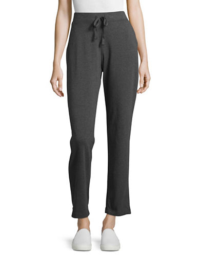 Karen Scott Drawstring Jersey Sweatpants-GREY-Medium