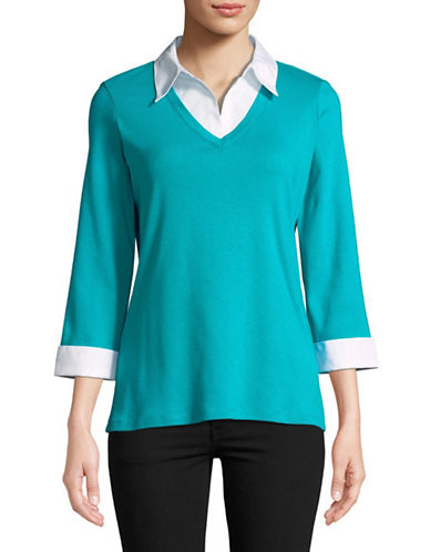 Karen Scott Contrast Collar Twofer-BLUE-Medium