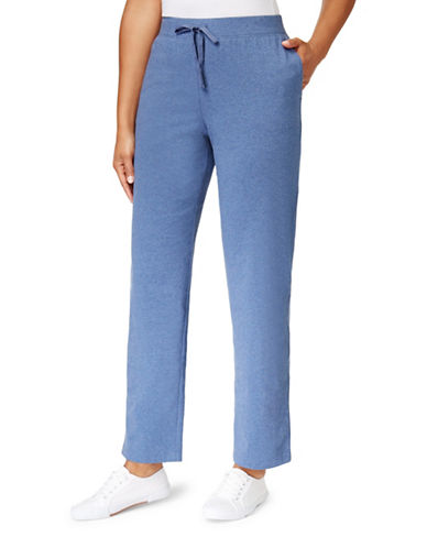 Karen Scott Petite Stretch Knit Pants-BLUE-Petite Large